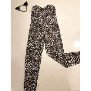 HALLOWEEN! Leopard Cheetah Catsuit with Ears